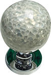 HANDCRAFTED MORTICE DOOR KNOB WHITE CRACKLE GLASS COLLECTION