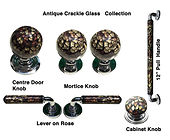 HANDCRAFTED ANTIQUE CRACKLE GLASS  COLLECTION DOOR HARDWARE