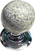 HANDCRAFTED CENTRE DOOR KNOB WHITE CRACKLE GLASS COLLECTION