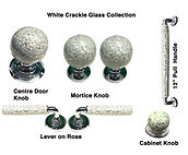 HANDCRAFTED WHITE CRACKLE GLASS COLLECTION DOOR HARDWARE