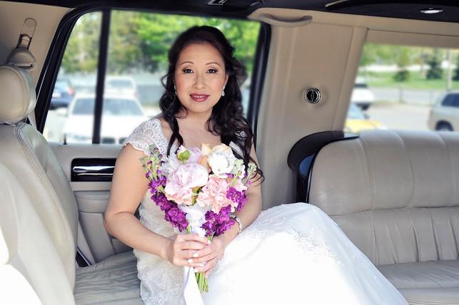 Beautiful Bride Van in her limo!