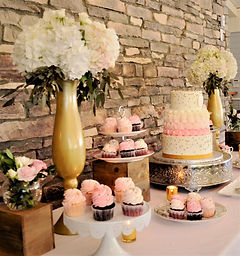 cake table gold white pink strathmere we