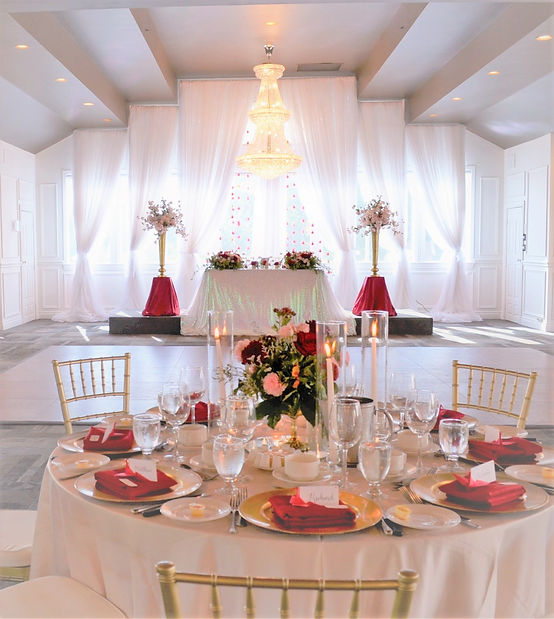 red and gold wedding at orchard view by wedding belles decor backdrop lakeview room.JPG