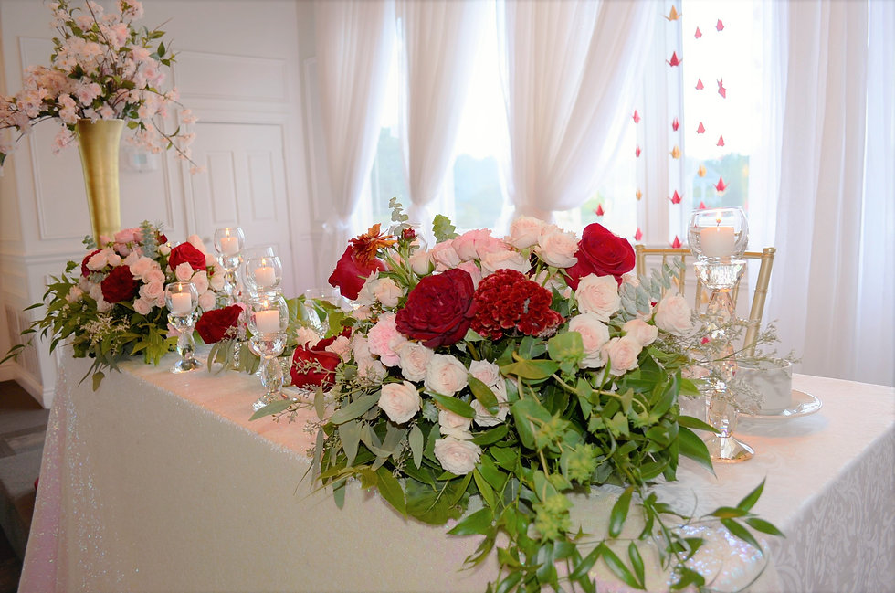 red and gold head table by wedding belles decor ottawa.JPG