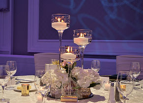 Cylinder centerpiece floating candles We