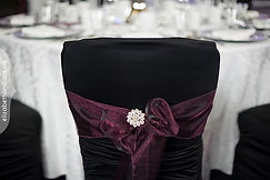 CHAIR COVERS WITH SASH AND BROOCH WEDDING