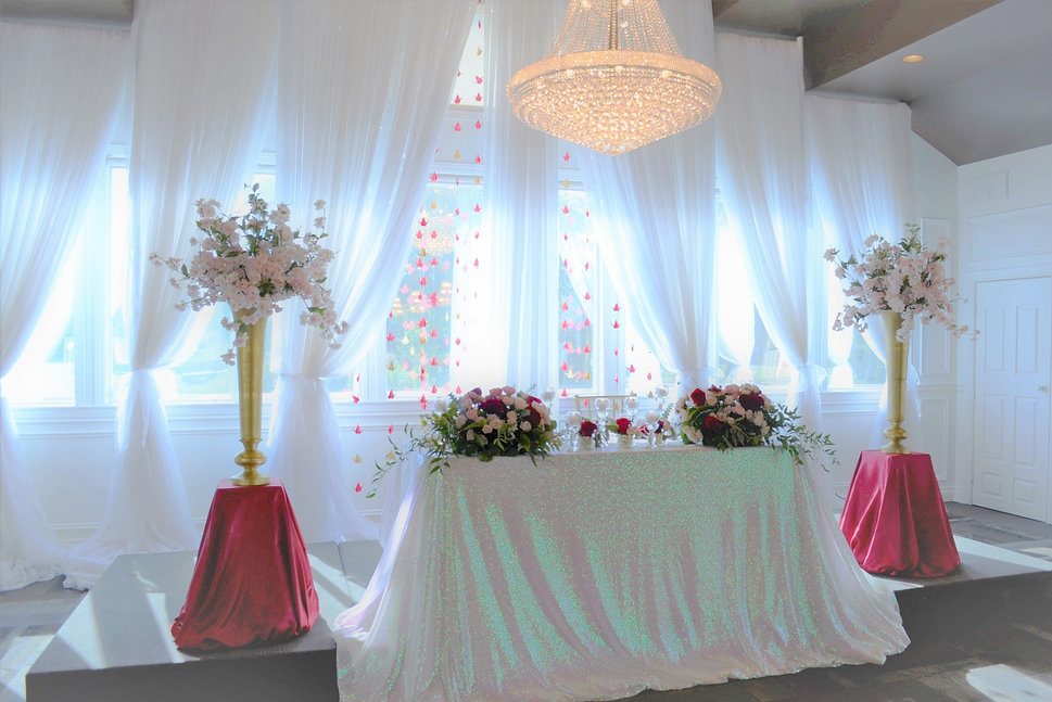head table at lakeview orchard view by wedding belles decor white sequin.JPG
