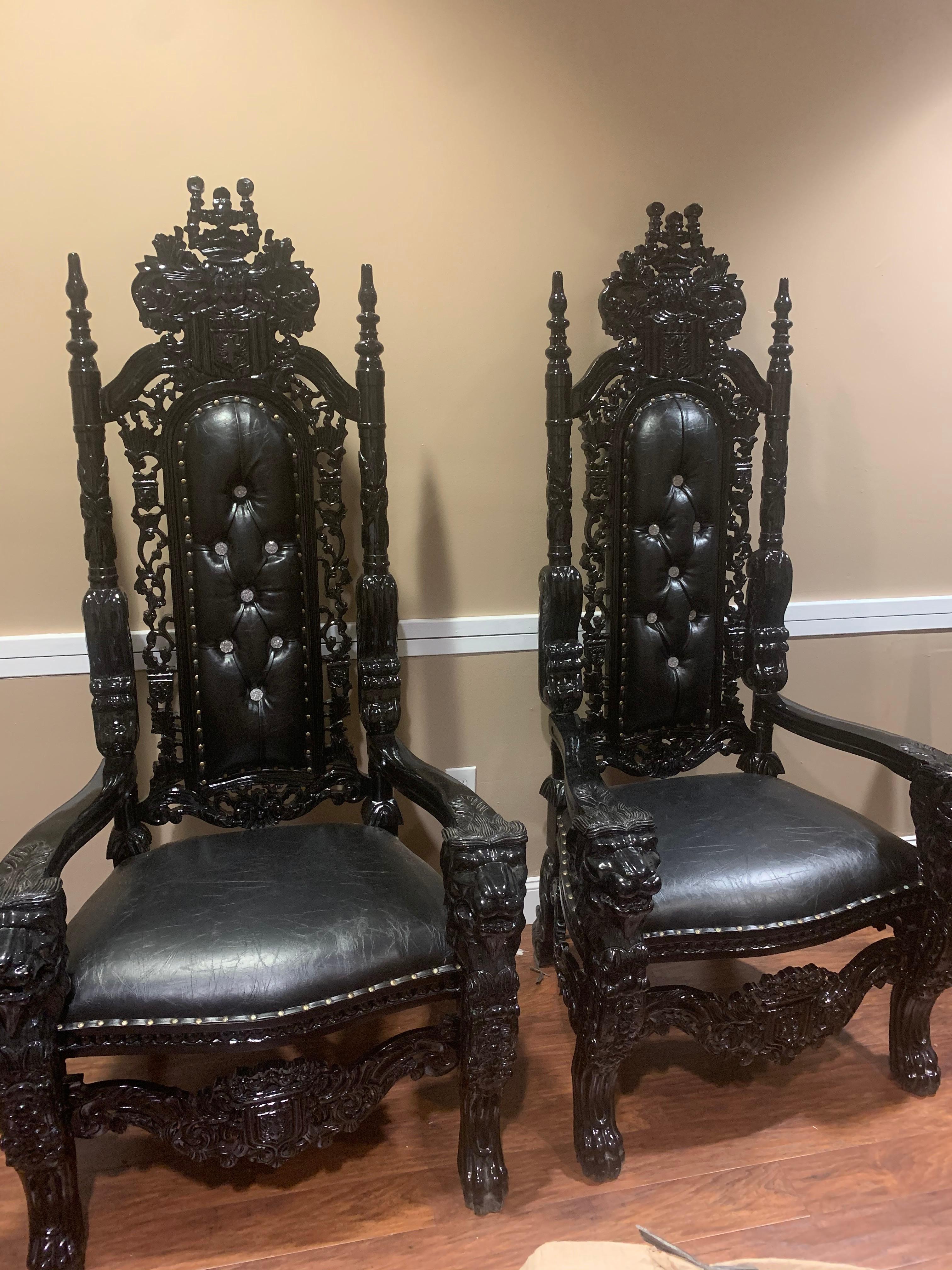 SET of Black Raja Throne Chair