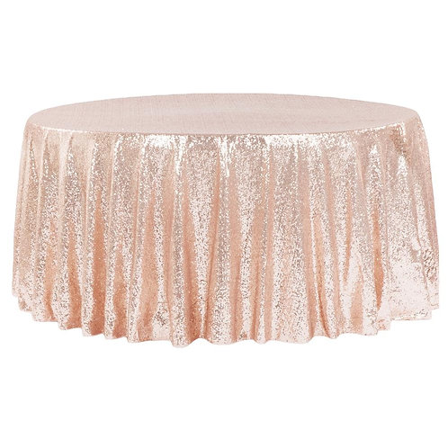 "Rose Gold 120"" Round Table Cloth"