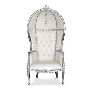 Silver/Ivory Canopy Throne Chair