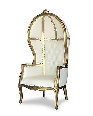 gold ivory porter thron chair side view.