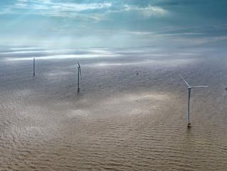 Bouw windpark Fryslan vanuit de lucht