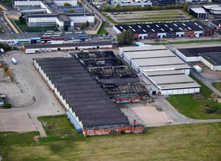 Luchtfoto's grote brand Nieuwegein / Asbest