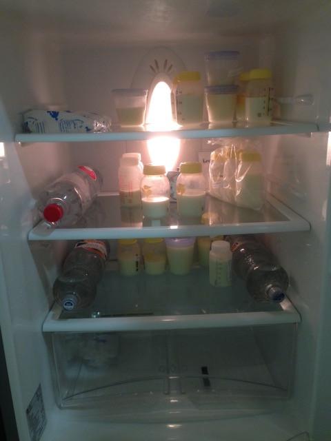 Moedermelk in de koelkast op het werk