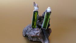 Ohrstecker grüner Obsidian und Perle