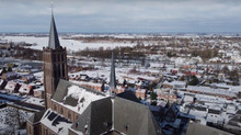 Vinkeveen vanuit de lucht, in de sneeuw
