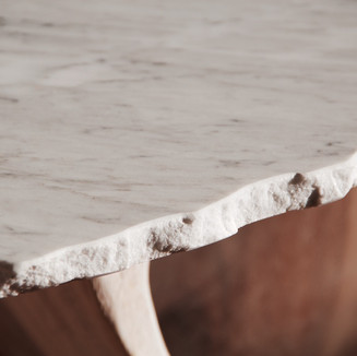 Marble & Wooden Table by Sidney Graf