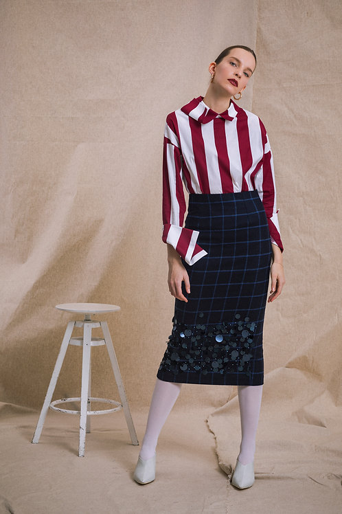 Wool Skirt Sequin Embroidered