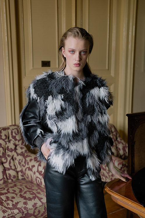 Faux Fur Bomber Jacket with Leather Detail