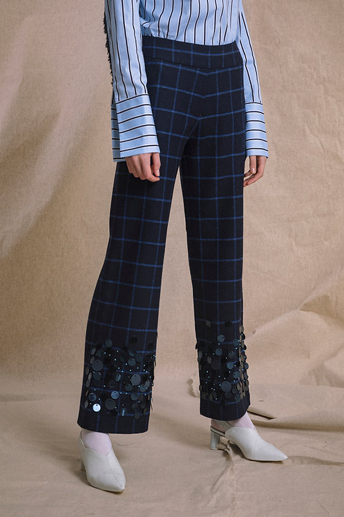 Wool Trousers Sequin Embroidered