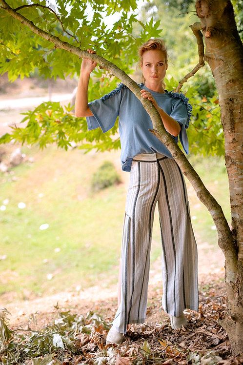 Stripe Trousers with Slits