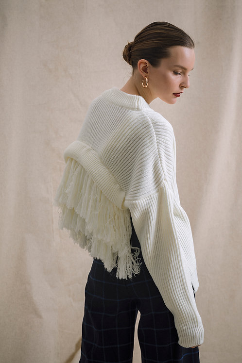 Knitwear with Fringe at Back