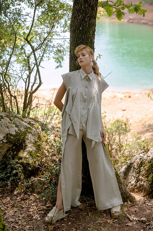 Linen Trousers with Slits