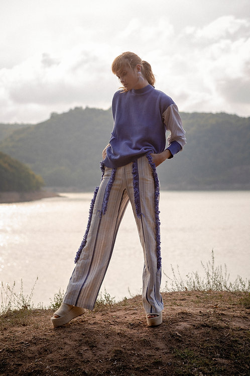 Stripe Trousers with Fringe
