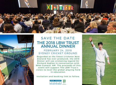Save the date for the Annual LBW Trust Dinner at the SCG - February 24th, 2018