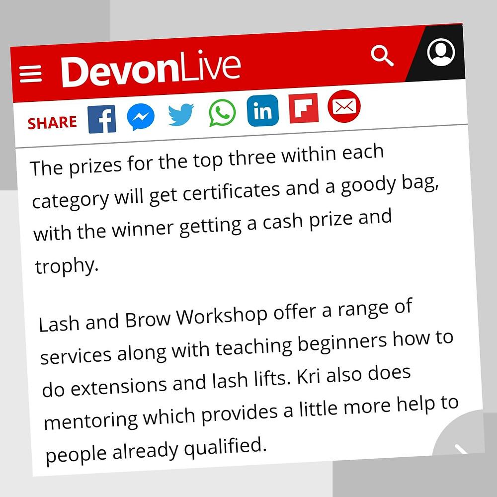 Devon Live World Best Lashes Torbay Finalist