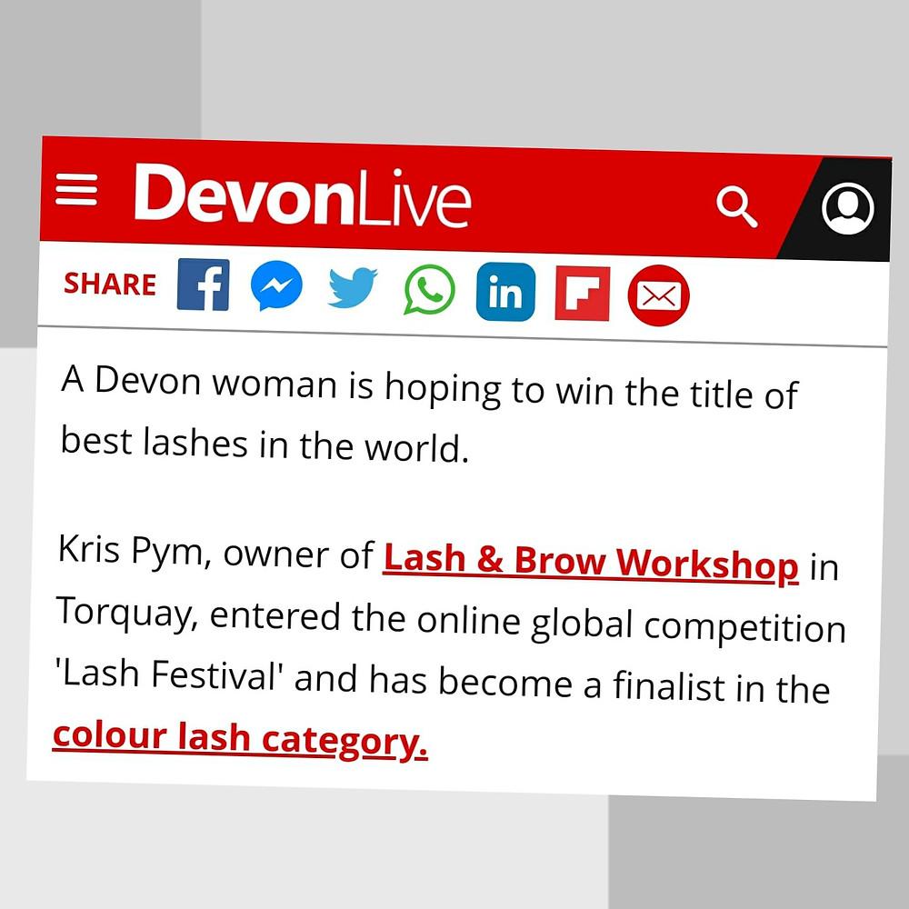 Devon Live Article On Lash & Brow Workshop