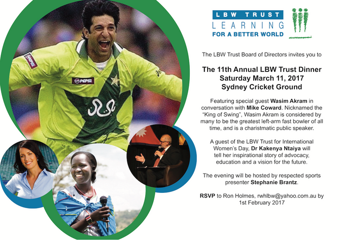 Save the date for the Annual LBW Trust Dinner 11th March 2017 with special guest Wasim Akram