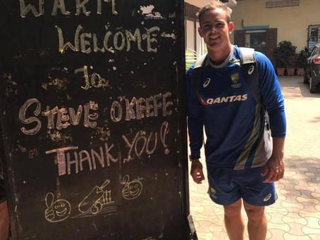 Cricketer Stephen O'Keefe visits SPRJ Kanyashala Trust College in Mumbai