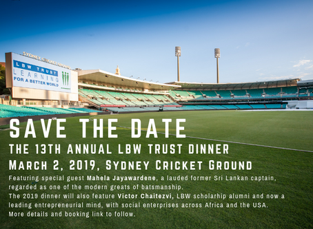 Save the date for the 13th Annual LBW Trust Dinner - March 2, 2019 at the SCG