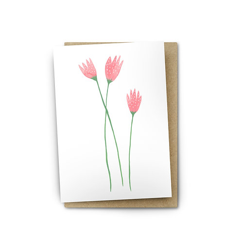 Pink Flowers Card $6