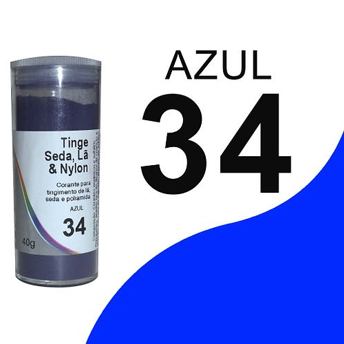 Tinge Seda, Lã E Nylon Azul 34 - 40g