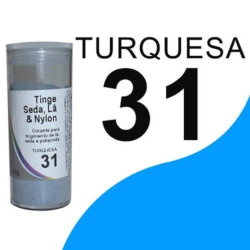 Tinge Seda, Lã E Nylon Turquesa 31 - 40g