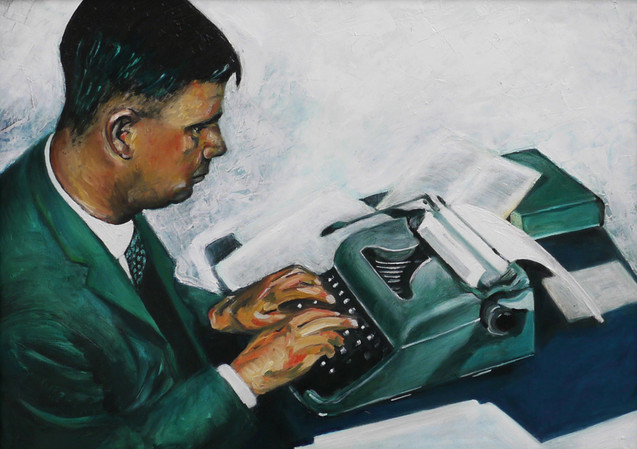 Reg at his typewriter, 2015