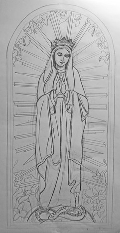Our Lady Crowned - preparatory drawing