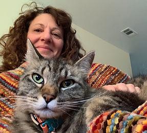 Jennifer + her cat, Prof Puddle Pants