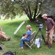 THE LAST PIG - Farmer Bob Comis, Director Allison Argo, and Cinematographer Joseph Brunette filming The Last Pig