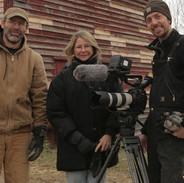 THE LAST PIG - Farmer Bob Comis, Director Allison Argo, Cinematographer Joseph Brunette on location in Schoharie, NY