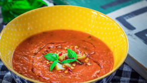 Roasted Tomato and Garlic Soup with Basil and Parmesan