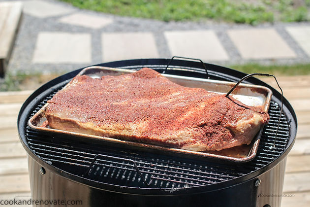 The photo below shows the brisket injected with a low sodium, gluten free homemade beef stock, with a mustard base and dry rub - ready for the smoker.