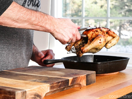 Cast Iron Oven Roasted Chicken with Garlic & Herbs