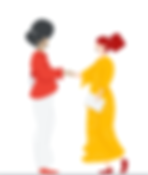 This is a decorative image with two women shaking hands. There is a Black woman and a white woman.