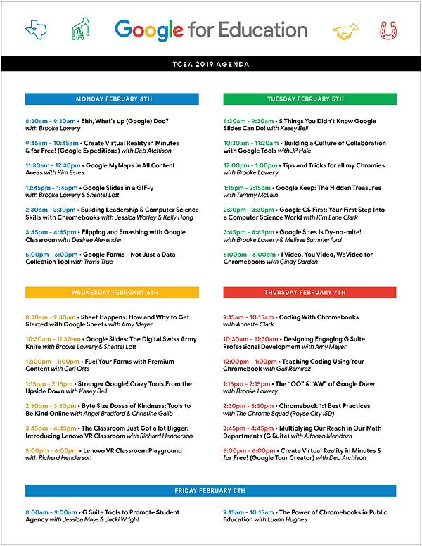 tcea google teaching theater agenda 2019