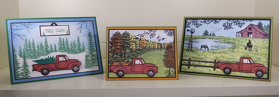 3 Red Truck Cards for Stampaway 2020 .jp