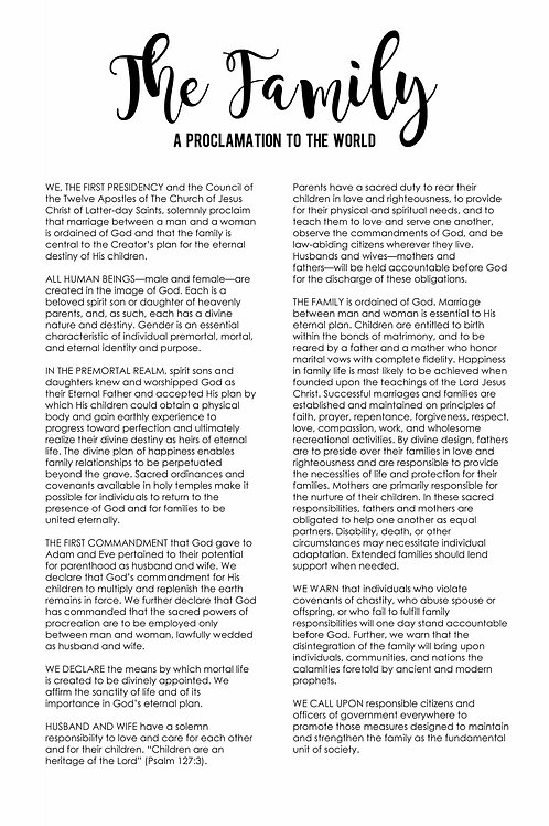 The Family: The proclamation to the world