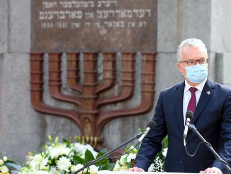 Prezidento G.Nausėdos kalba Lietuvos žydų genocido aukų pagerbimo ceremonijoje Panerių memoriale